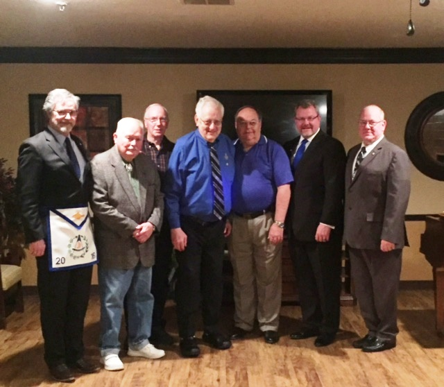 Members of Lubbock Lodge with Brother Thomas Yeoman and District Deputy Grand Master Charles Mire who presented the award L to R Charles Mire, Norris Rumsey, Leonard Buller, Thomas Yeoman, Kevin Rush, Master, Chris Yeoman and Jerry Hendrick